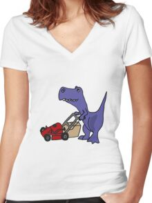 Funny T-Rex Dinosaur Mowing the Lawn Women's Fitted V-Neck T-Shirt