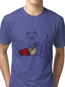 Funny T-Rex Dinosaur Mowing the Lawn Tri-blend T-Shirt