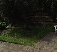 white flowers/3 x white chairs -(120811b)- digital panorama photo by paulramnora