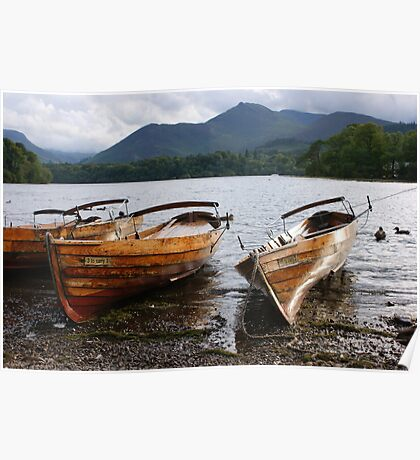 a lovely day for boating - Keswick the lake district Poster