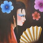 geisha with flowers 3 by matthew  chapman