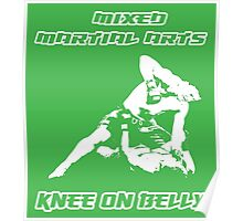 Mixed Martial Arts Knee On Belly Green  Poster