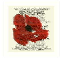 God save the Queen anthem over Poppie. Art Print