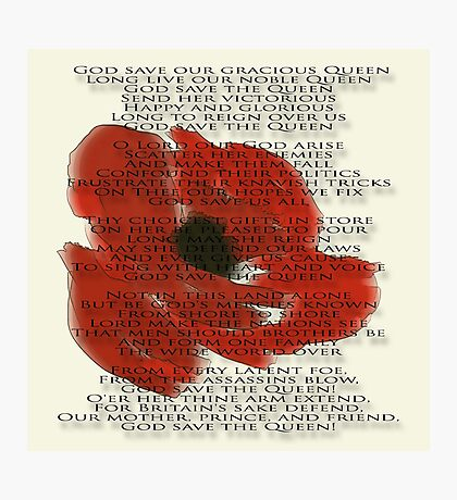 God save the Queen anthem over Poppie. Photographic Print