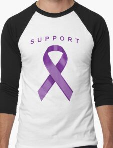 Purple Awareness Ribbon of Support Men's Baseball ¾ T-Shirt