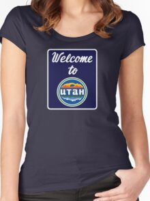 Welcome to Utah Road Sign Vintage 90s Women's Fitted Scoop T-Shirt