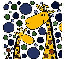 Funky Yellow Giraffes Abstract Art Original Photographic Print