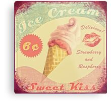 50s Ice Cream Sweet Kiss Raspberry Strawberry Metal Print