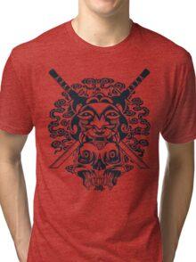 Samurai Mask and Skull Tri-blend T-Shirt