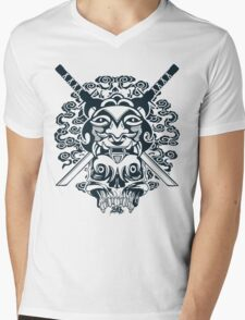 Samurai Mask and Skull Mens V-Neck T-Shirt