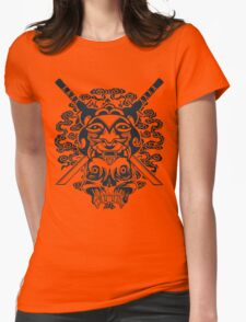Samurai Mask and Skull Womens Fitted T-Shirt