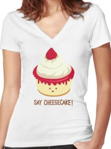 Say CheeseCake! - Pink Version Women's Fitted V-Neck T-Shirt