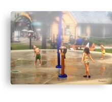 Fun under the Water Fountains Canvas Print
