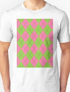 Pink and Green Argyle T-Shirt