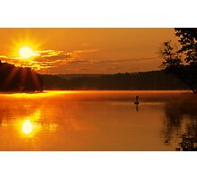 Lake Sunrise with Swan Photographic Print