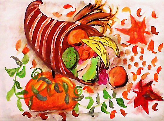 Horn of plenty, enjoy the holidays, watercolor by Anna  Lewis