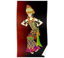 Balinese Dancer & Frangipani Poster