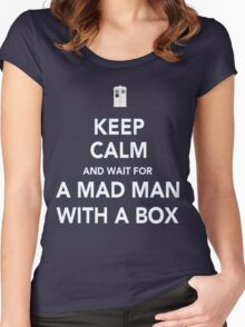 Wait for a mad man with a box Women's Fitted Scoop T-Shirt