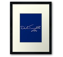 David Tennant White Autograph Blue Framed Print