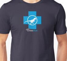 Don't Cross Blue   Jurassic Raptor Unisex T-Shirt