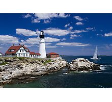 Portland Head Light and Sailboat Photographic Print