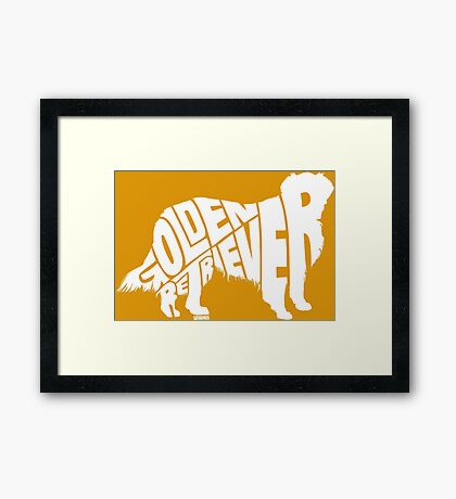 Golden Retriever White Framed Print