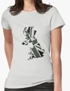 UK flag and outline Mono Womens Fitted T-Shirt