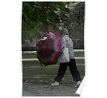 Woman, brolly and park Poster