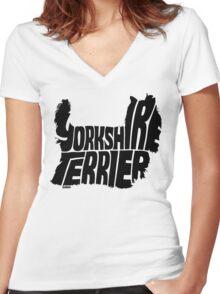 Yorkshire Terrier Black Women's Fitted V-Neck T-Shirt