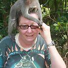 Cathie & monkey in Ubud, Bali by Cathie Brooker