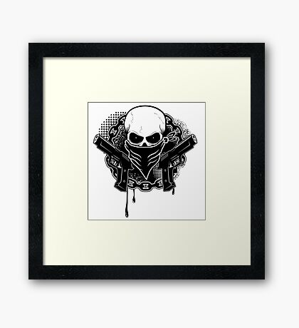 Skull with guns Framed Print
