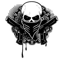 Skull with guns Photographic Print