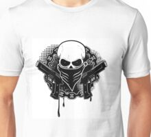 Skull with guns Unisex T-Shirt