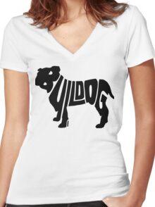 Bulldog Black Women's Fitted V-Neck T-Shirt