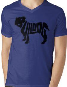 Bulldog Black Mens V-Neck T-Shirt