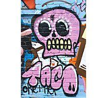 Pink Graffiti Skull Photographic Print
