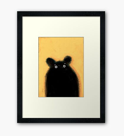 Cute furry black bear Framed Print