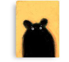 Cute furry black bear Canvas Print