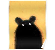 Cute furry black bear Poster