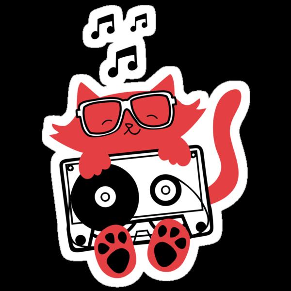 Cassette Kat Sticker by Amy Grace