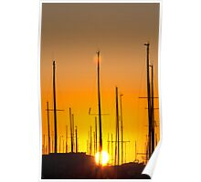 Sunset at Rome harbour Poster
