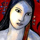 "Blue Girl with Red Violin (Close Up) by Belinda ""BillyLee"" NYE (Printmaker)"