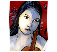 Blue Girl with Red Violin (Close Up) Poster