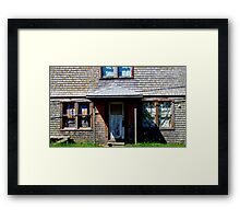 Clapboard and Curtains Framed Print