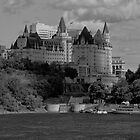 Chateau Laurier - B/W by Josef Pittner