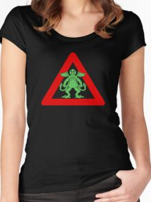 Cthulhu Warning signs Women's Fitted Scoop T-Shirt