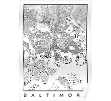 Baltimore Map Schwarzplan Only Buildings Poster