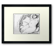 female nude/peaceful recliner -(140811)- copy of photo/pencil/A4 Framed Print