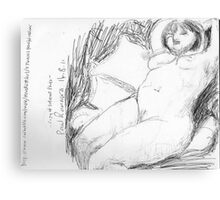 female nude/peaceful recliner -(140811)- copy of photo/pencil/A4 Metal Print