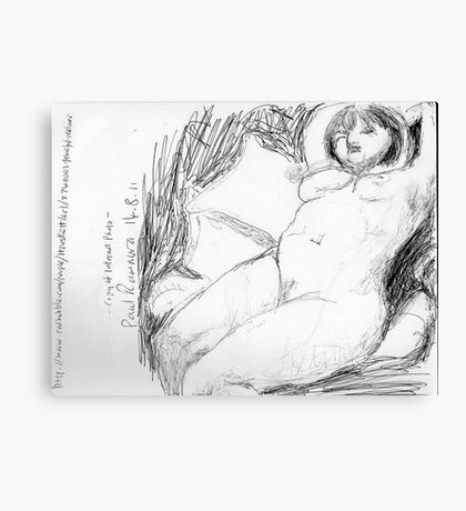 female nude/peaceful recliner -(140811)- copy of photo/pencil/A4 Canvas Print